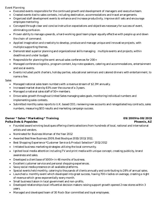 resume for catering business owner