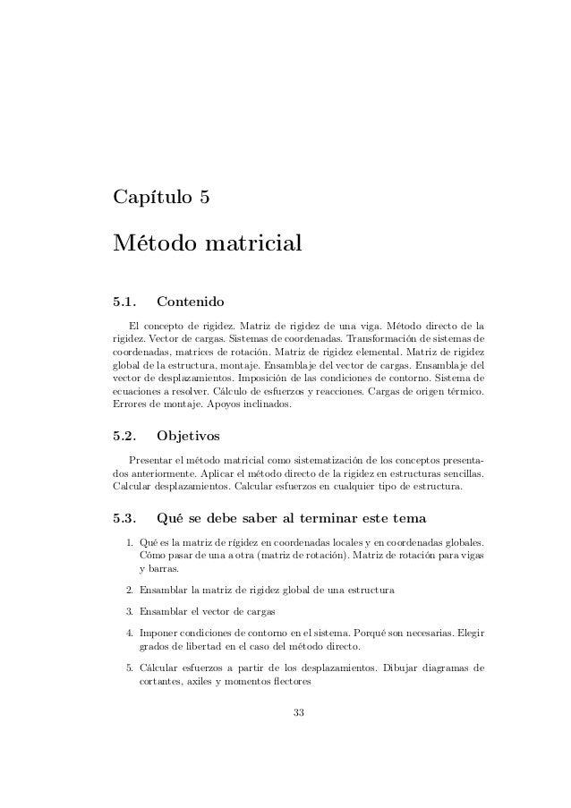 Capítulo 5Método matricial5.1.     Contenido    El concepto de rigidez. Matriz de rigidez de una viga. Método directo de l...