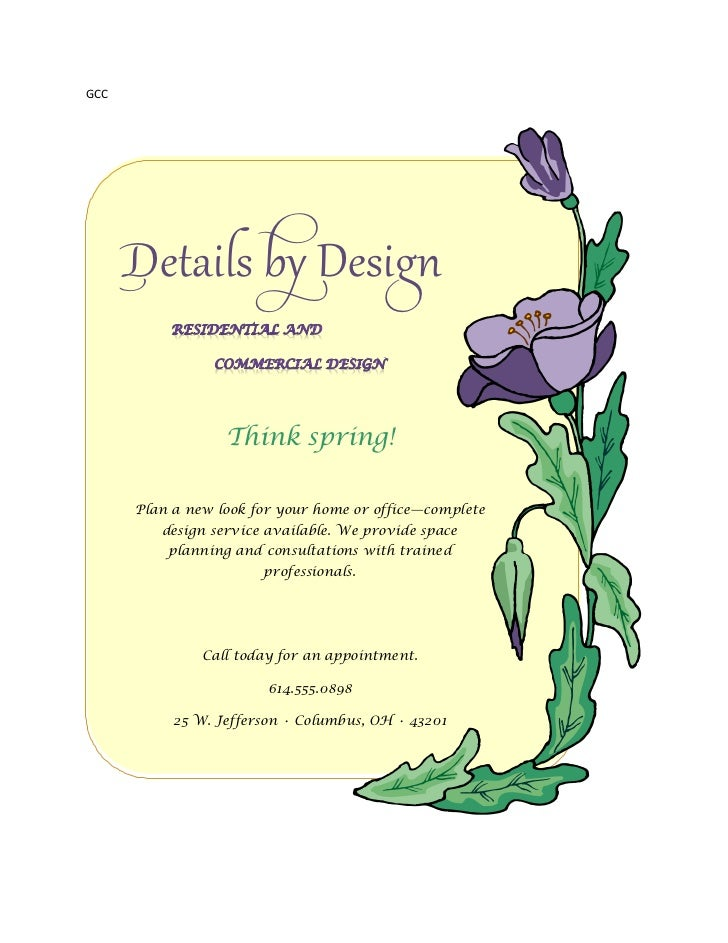 GCC      Details by Design                  Think spring!      Plan a new look for your home or office—complete         de...