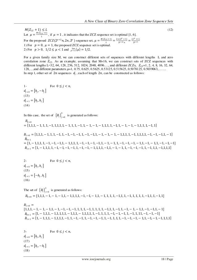 A New Class of Binary Zero Correlation Zone Sequence Sets 𝑀(𝑍 𝐶𝑍 + 1) ≤ 𝐿                                                 ...
