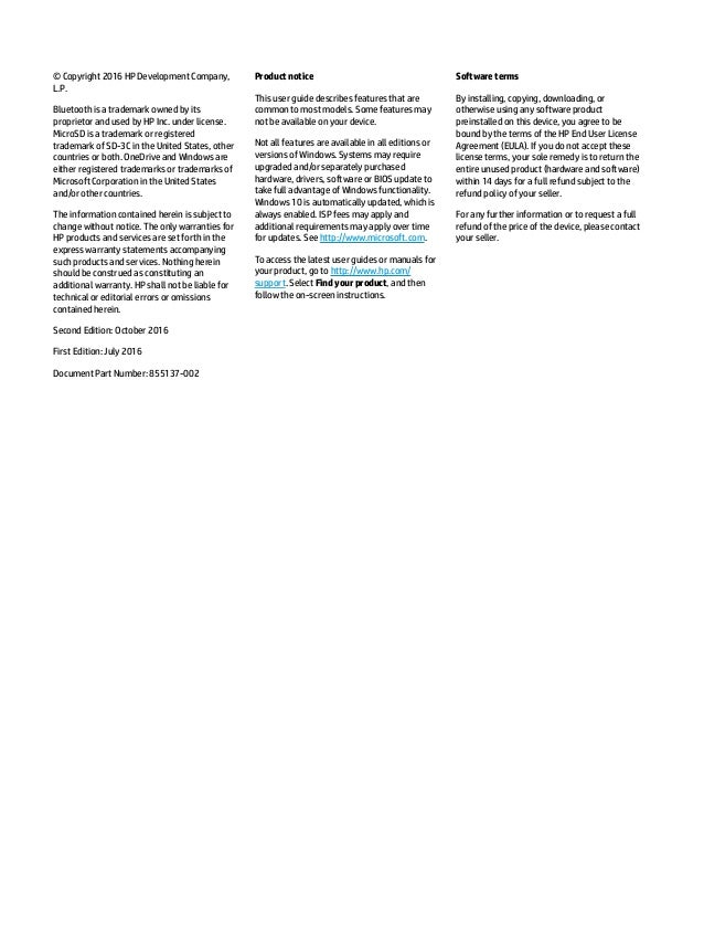 HP Elite x3 Manual / User Guide Slide 2
