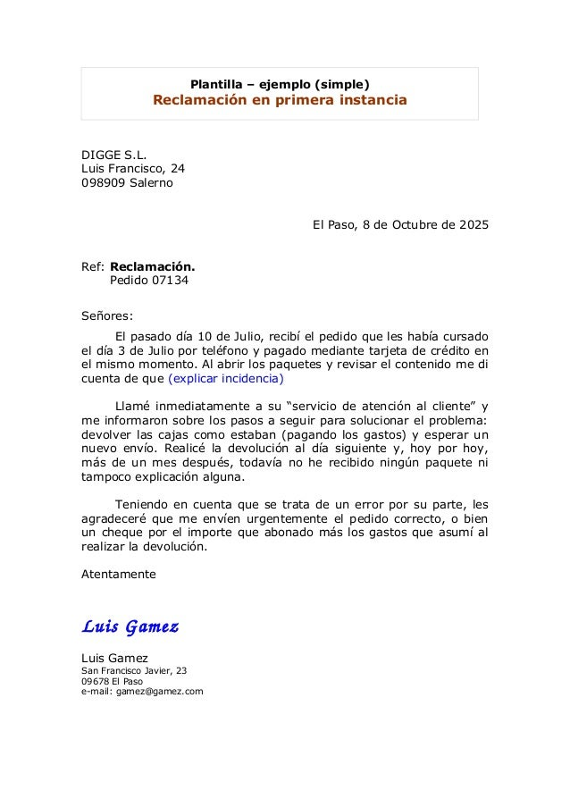 Plantilla para hacer reclamacin carta reclamacion for Reclamacion devolucion clausula suelo