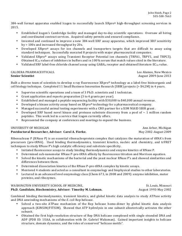 resume john hsieh scientist enzymologist