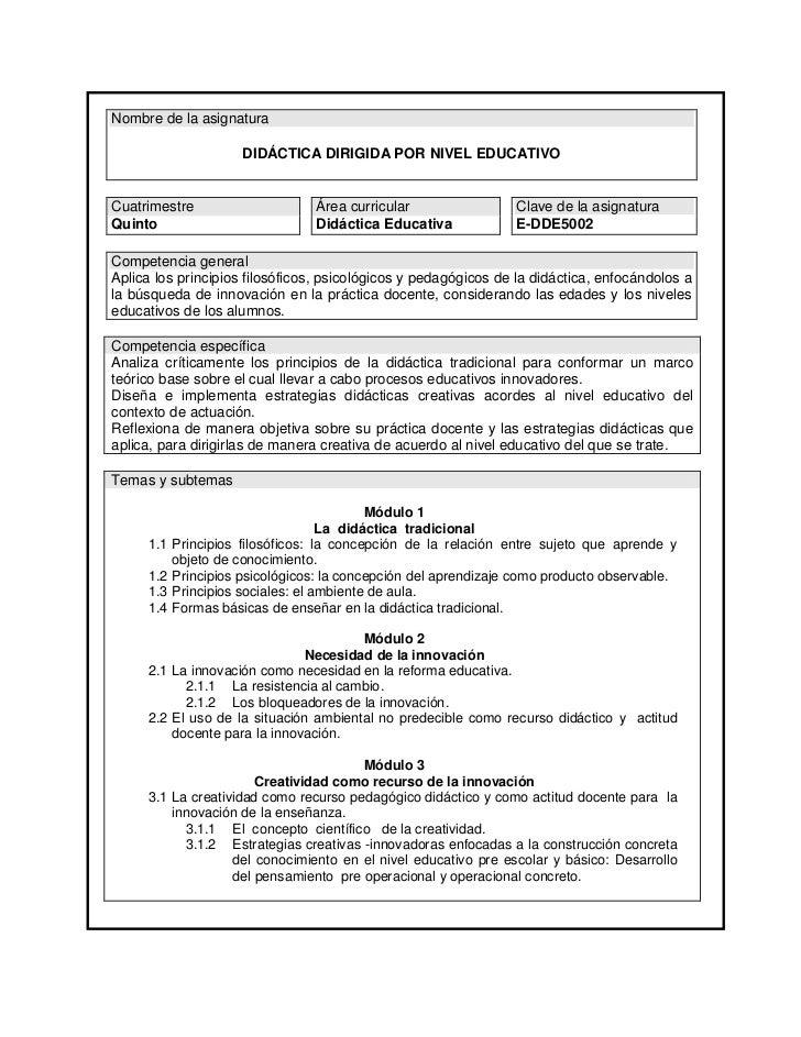 Nombre de la asignatura                      DIDÁCTICA DIRIGIDA POR NIVEL EDUCATIVOCuatrimestre                     Área c...