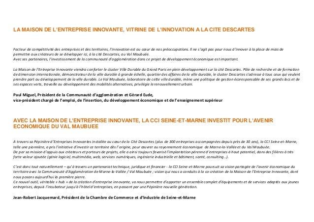 Maison de l 39 entreprise innovante cit descartes - Chambre de commerce et d industrie de seine et marne ...