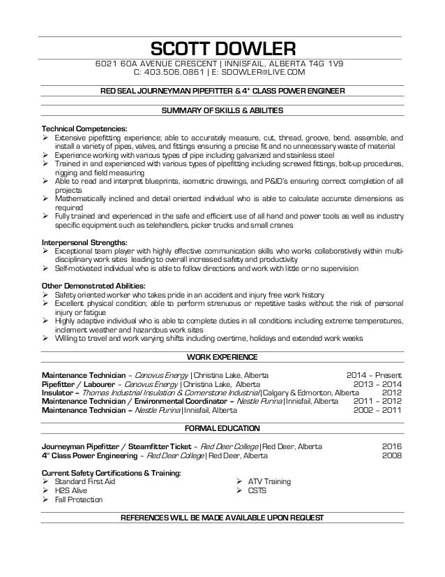 dowler scott pipefitter resume pipefitter resume
