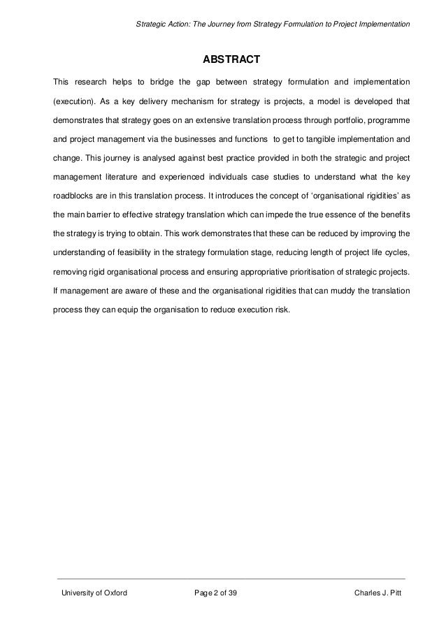 Dissertation on strategy formulation