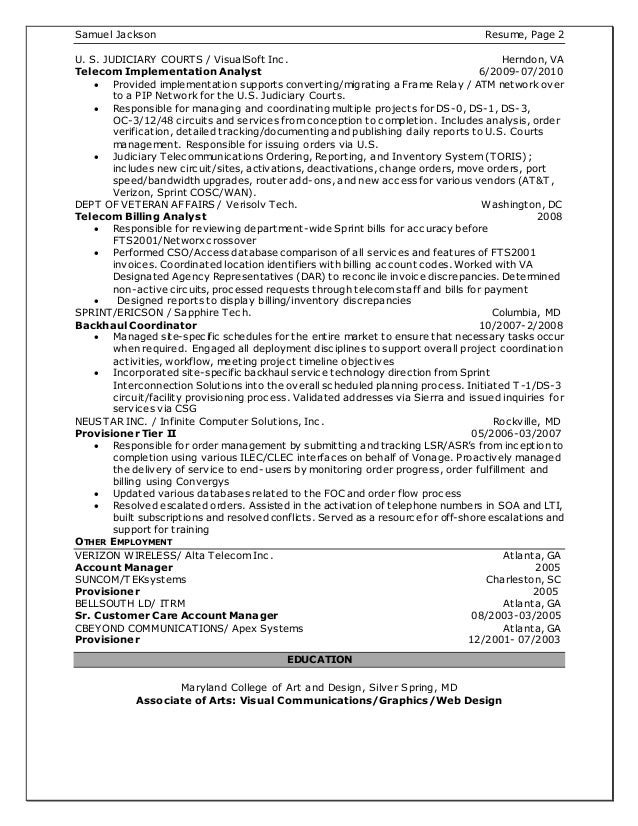 Sample Resume Telecom
