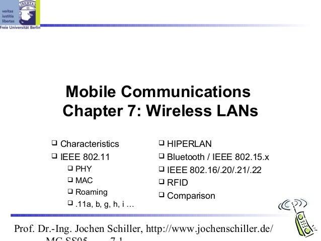 Mobile Communications            Chapter 7: Wireless LANs         Characteristics           HIPERLAN         IEEE 802.1...