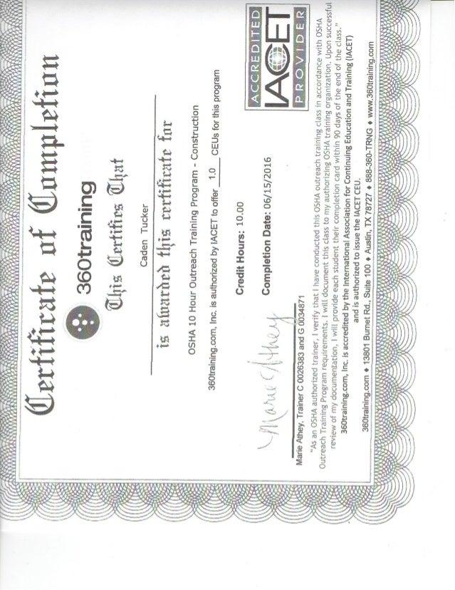 osha caden certification proxima
