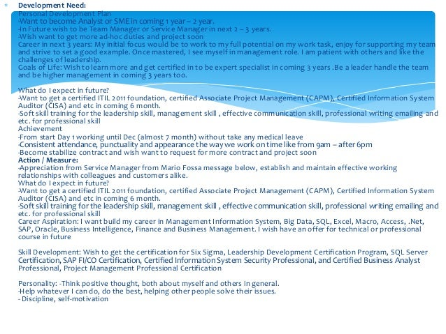 Personal Development Plan 2014 - 2015
