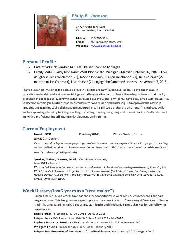 Amazing Phil Johnson Pastoral Resume. Philip B. Johnson 14724 Arctic Tern Lane  Winter Garden, Florida 34787 Mobile: 614 ...  Pastoral Resume