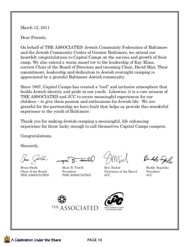 A Celebration Under the Stars  Page 10             March 12, 2011 Dear Friends, On behalf of THE ASSOCIATED: Jewish C...