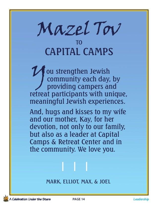 A Celebration Under the Stars  Page 14             MazelTov TO Capital Camps You strengthen Jewish   community e...
