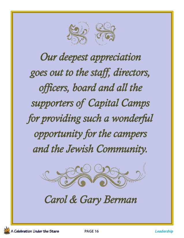 A Celebration Under the Stars  Page 16             Leadership Our deepest appreciation goes out to the staff, directo...