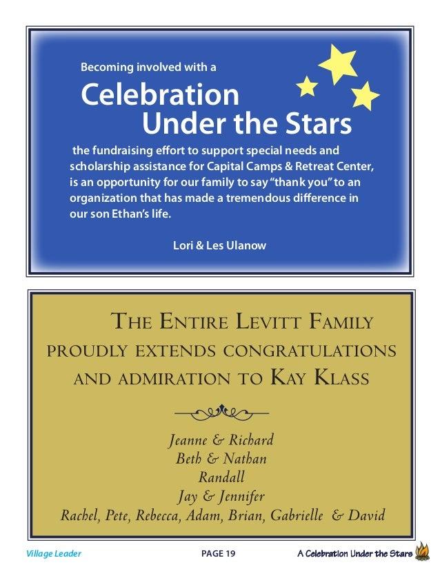 Page 19 A Celebration Under the Stars            Village Leader Becoming involved with a Celebration  Under the Star...