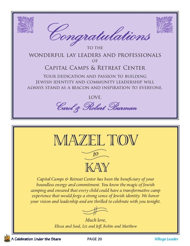 A Celebration Under the Stars  Page 20             Congratulationsto the wonderful lay leaders and professionals of C...