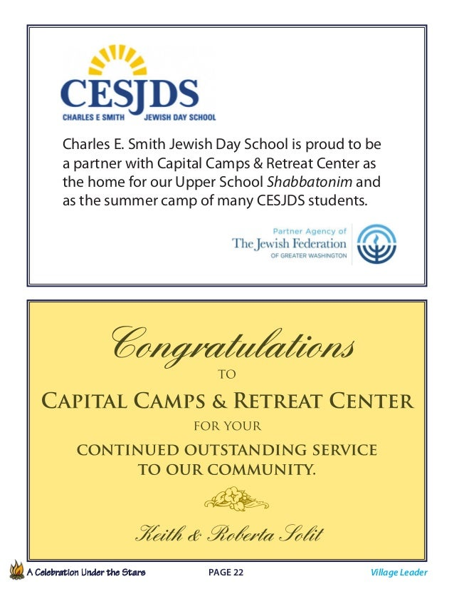 A Celebration Under the Stars  Page 22             Charles E. Smith Jewish Day School is proud to be a partner with C...