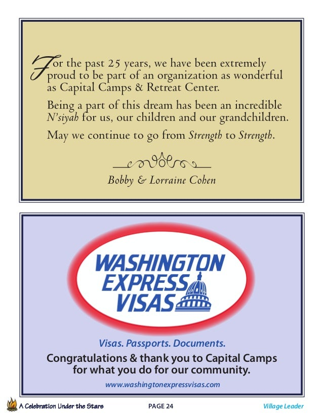 A Celebration Under the Stars  Page 24             Visas. Passports. Documents. Congratulations  thank you to Capital...