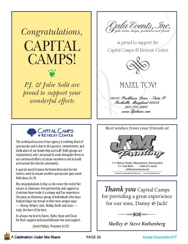 A Celebration Under the Stars  Page 26             Camp Counselor/CIT The continued success of our agency is nothing ...