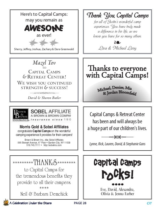 A Celebration Under the Stars  Page 28             CIT Thank You,Capital Camps for all of Justin's wonderful camp exp...