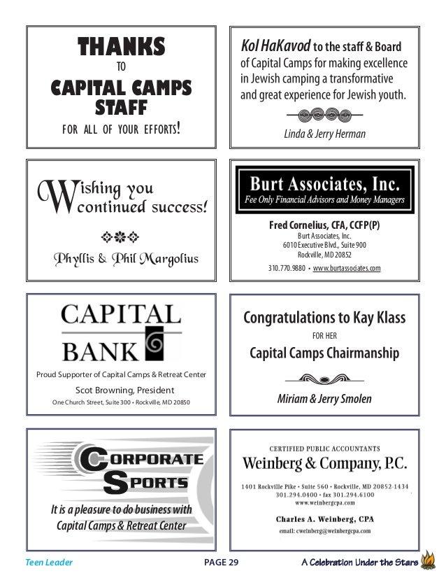 Page 29 A Celebration Under the Stars            Teen Leader Fred Cornelius, CFA, CCFP(P) Burt Associates, Inc. 6010 E...