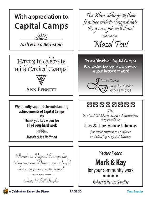 A Celebration Under the Stars  Page 30             To my friends at Capital Camps: Best wishes for continued success ...