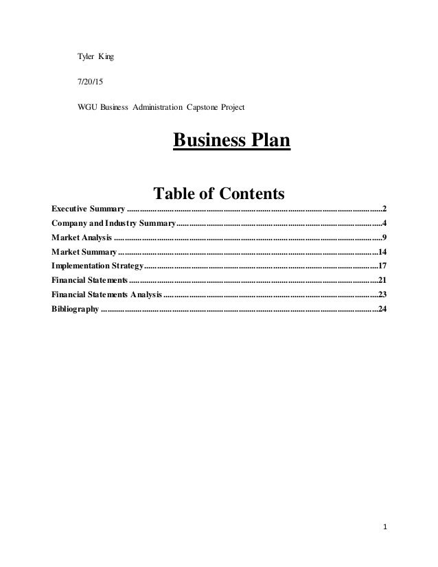 wgu capstone business plan