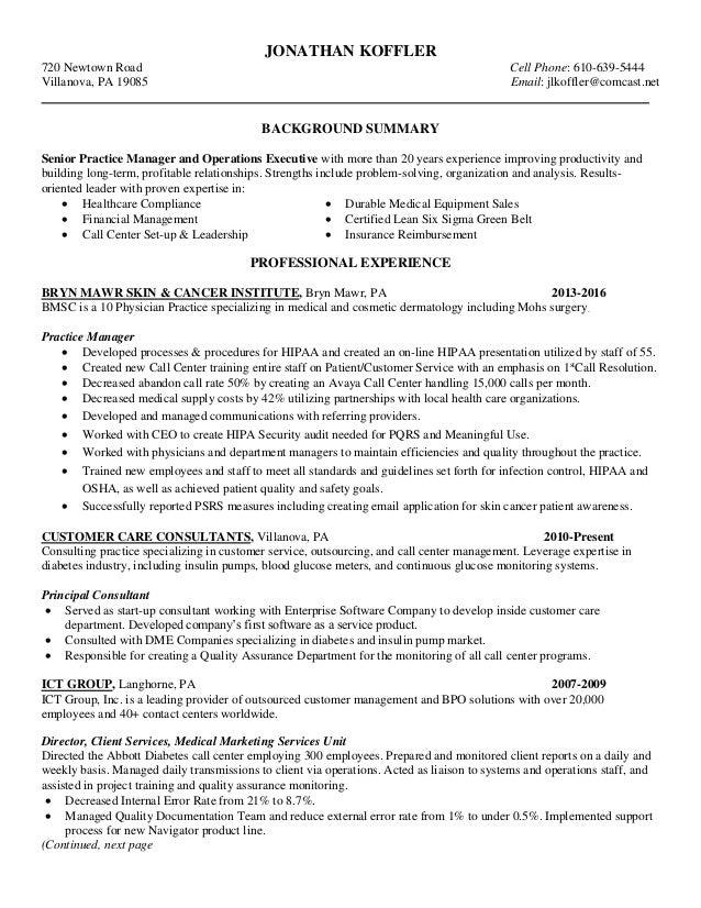 Koffler Practice Administrator Resume Nov 2016