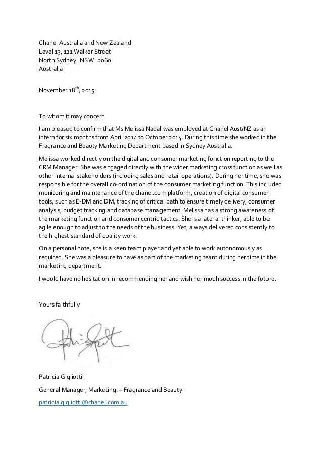 recommendation letter chanel sydney