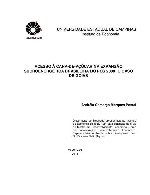 UNIVERSIDADE ESTADUAL DE CAMPINAS Instituto de Economia ACESSO À CANA-DE-AÇÚCAR NA EXPANSÃO SUCROENERGÉTICA BRASILEIRA DO ...