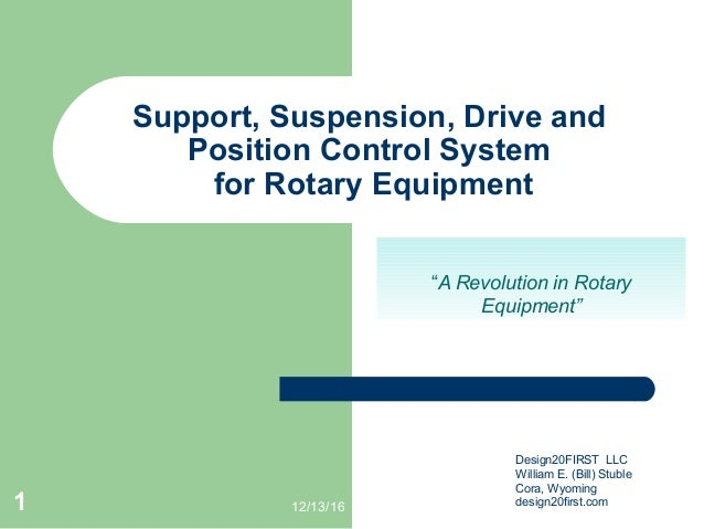 """12/13/161 Support, Suspension, Drive and Position Control System for Rotary Equipment """"A Revolution in Rotary Equipment"""" D..."""