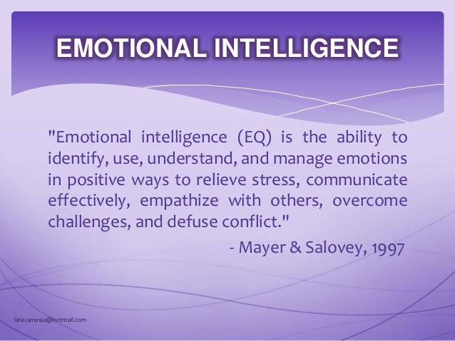 IQ AND EQ Intelligence Quotient (IQ) is a value that indicates a person's ability to learn, understand, and apply informat...