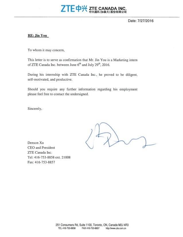 confirmation of internship letter