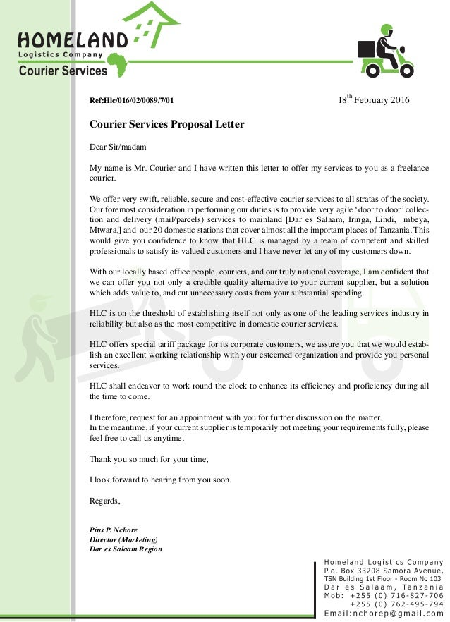 courier services With courier service proposal letter