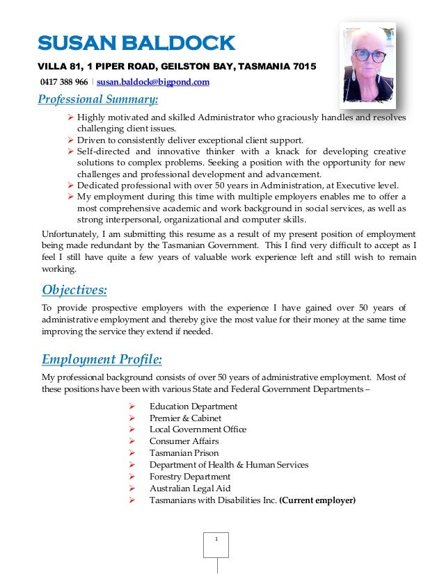 susan baldock resume with referrals