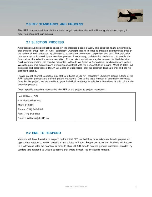 Rfp For Logistics Project