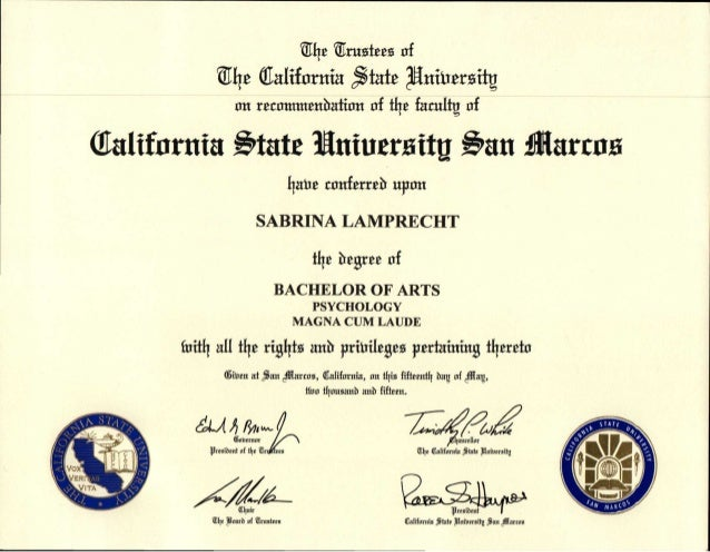 CSUSM Diploma 2015