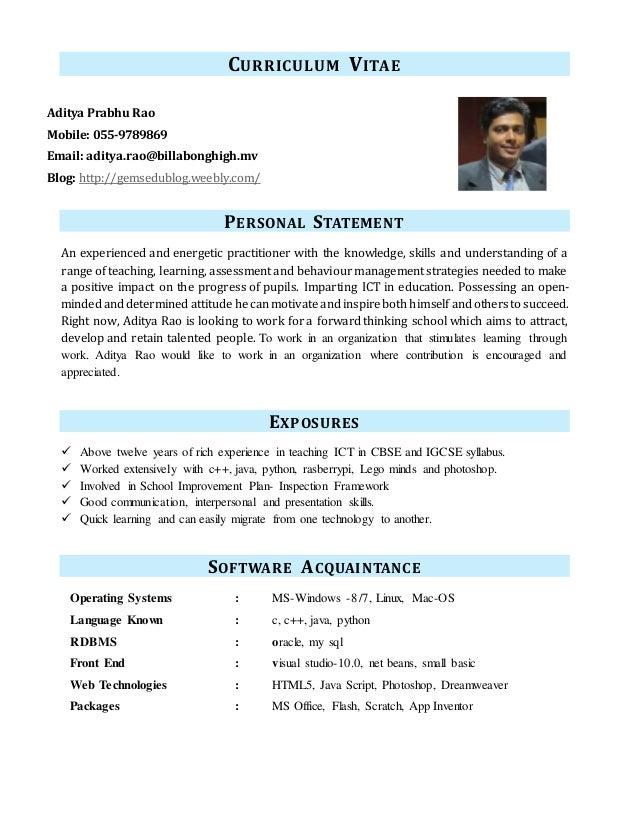 aplikacja na studia personal statement