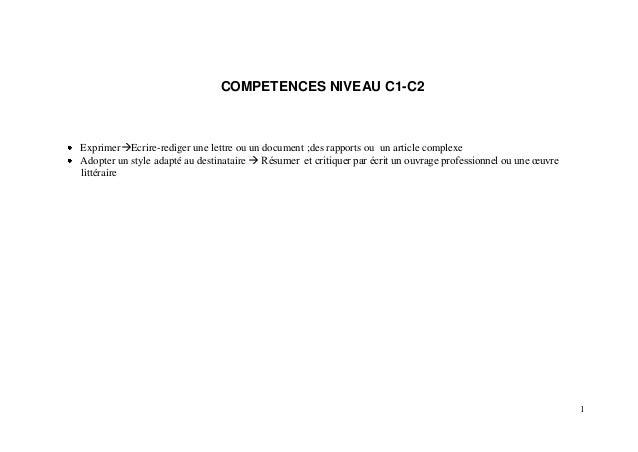 1COMPETENCES NIVEAU C1-C2ExprimerEcrire-rediger une lettre ou un document ;des rapports ou un article complexeAdopter un ...