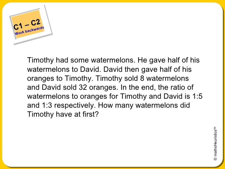 <ul><li>Timothy had some watermelons. He gave half of his watermelons to David. David then gave half of his oranges to Tim...