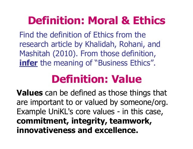 what is the relationship between personal values and business ethics