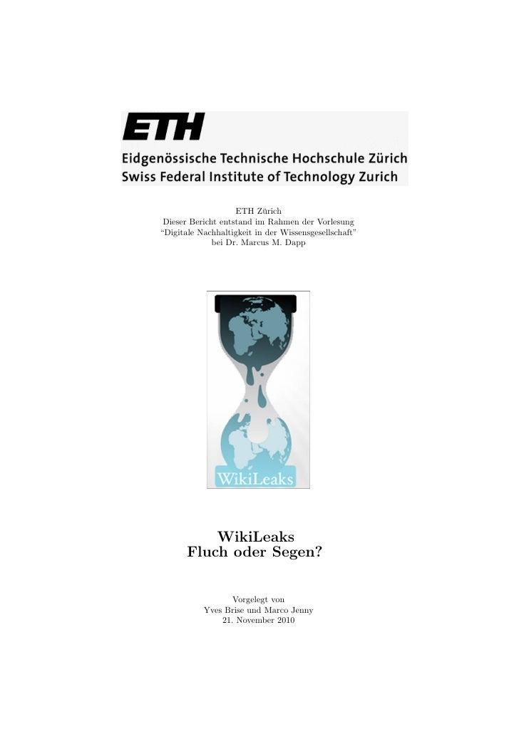 """ETH Z¨rich                           u Dieser Bericht entstand im Rahmen der Vorlesung""""Digitale Nachhaltigkeit in der Wiss..."""