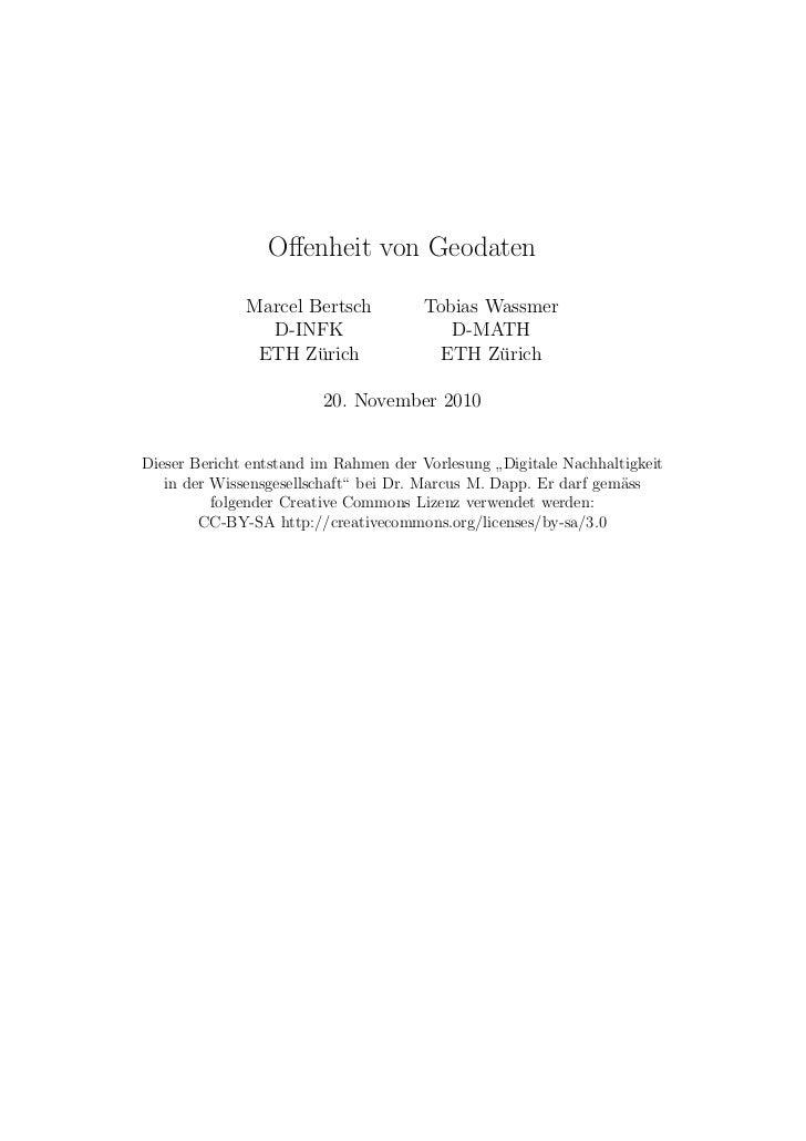 Offenheit von Geodaten              Marcel Bertsch          Tobias Wassmer                D-INFK                   D-MATH  ...