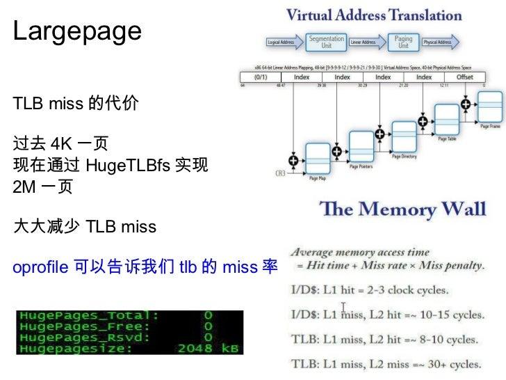 Largepage  <ul><li>TLB miss 的代价 </li></ul><ul><li> </li></ul><ul><li>过去 4K 一页 </li></ul><ul><li>现在通过 HugeTLBfs 实现 </li></...