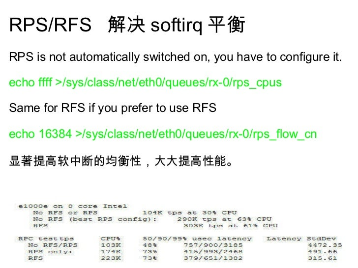 RPS/RFS  解决 softirq 平衡 <ul><li>RPS is not automatically switched on, you have to configure it.  </li></ul><ul><li> </li>...