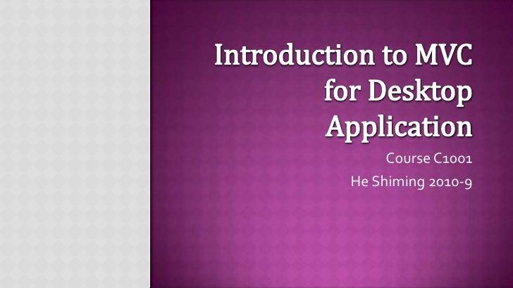 MVC for Desktop Application - Part 4