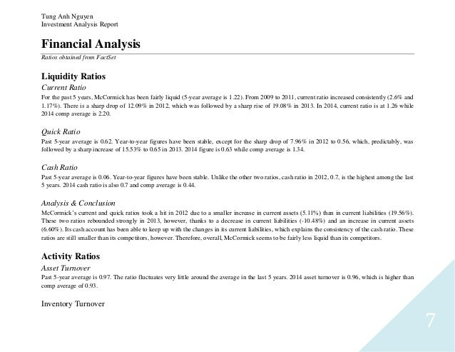... 7. Tung Anh Nguyen Investment Analysis Report 7 Financial ...  Financial Analysis Report Writing