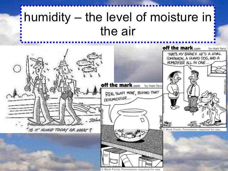 humidity – the level of moisture in the air