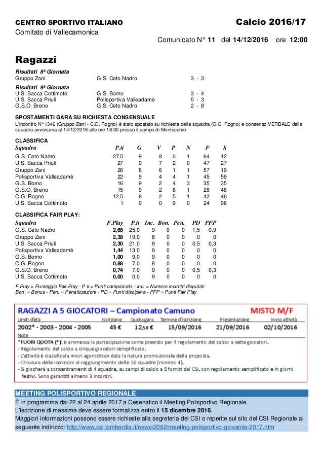 CENTRO SPORTIVO ITALIANO Calcio 2016/17 Comitato di Vallecamonica Comunicato N° 11 del 14/12/2016 ore 12:00 Ragazzi Risult...
